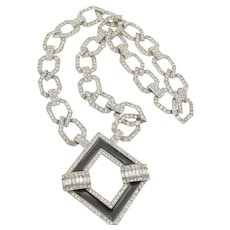 Kenneth Jay Lane KJL Faux Onyx Art Deco Style Diamante Necklace