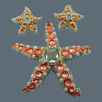 Kenneth Jay Lane KJL Starfish Brooch and Earring Set
