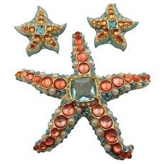 Kenneth Jay Lane KJL Starfish Brooch and Earring Set
