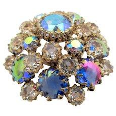 Schreiner Domed Metallic Cabochon Crystal Rhinestone Brooch