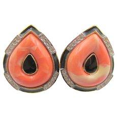 Kenneth Jay Lane KJL Faux Coral Art Deco Style Earrings