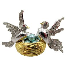 Joan Rivers Birds in Nest Rhinestone and Faux Pearl Brooch