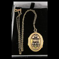 Antique Victorian Rolled Gold Natural Seed Pearl Locket GF Chain