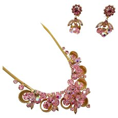Vintage D&E Juliana Pink Crystal Bead, Rhinestone and Half Cup Necklace and Earring Set