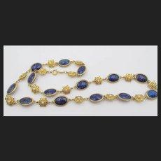 """Vintage Signed Accessocraft Reversible Faux Lapis 28"""" Necklace"""