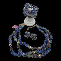 Gorgeous Vendome Royal Blues Art Glass Necklace, Bracelet and Earring Parure