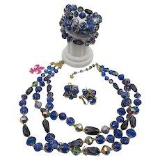 Gorgeous Vendome Royal Blues Art Glass Necklace, Bracelet and Earring Parure