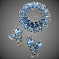 Weiss Light Blue Halo Rhinestone Brooch and Clip Earring Set