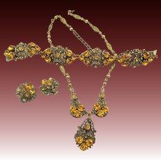 Vintage Czech Filigree Amber Rhinestone Set - Necklace, Bracelet and Earrings