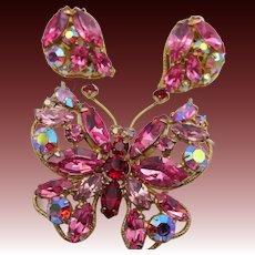 Vintage Regency Butterfly Figural Brooch and Earring Set