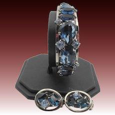 DeLizza & Elster Juliana Sapphire Rhinestone Bracelet and Earring Set