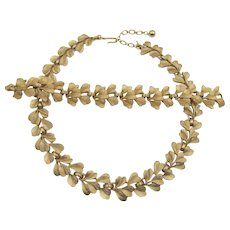Vintage Trifari Classic Brushed Gold Tone Necklace and Bracelet