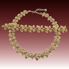 Vintage Trifari Classic Brushed Gold Tone Necklace and Bracelet