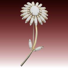 Napier White Milkglass Navette Flower Brooch