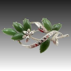 White Gold, Spinach Opaque Tourmaline Brooch/Pin