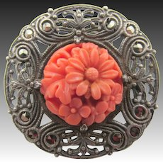 Coral, Sterling Silver Filigree and Marcasite Brooch/Pin