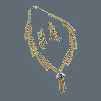 Alice Caviness Gold Tone Mesh Blue AB Rhinestone Necklace and Earring Set