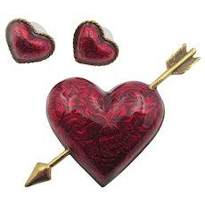 Vintage Red Enamel Pierced Heart Pin and Earrings