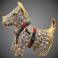 Kenneth Jay Lane K.J.L. Scottie Dog Figural Rhinestone Brooch