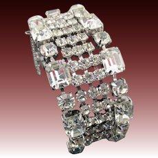 Vintage Crystal Rhinestone 5 Row Rhodium Plated Bracelet
