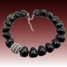 Kenneth Jay Lane K.J.L. Art Deco Style Black Chunky Necklace