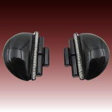 Kenneth Jay Lane K.J.L. Art Deco Style Black Rhinestone Earrings
