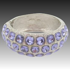 Kenneth Jay Lane KJL Purple Crystal Rhinestone Bangle Bracelet