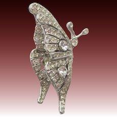 Kenneth Jay Lane KJL Diamante Rhinestone Butterfly Brooch