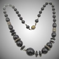 1930s Czech Black Glass Brass Necklace
