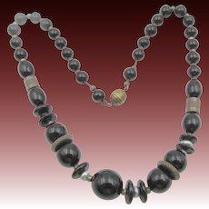 1930s Czech Black Glass Brass Necklace