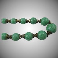 Napier 1930s Faux Chrysoprase Beaded Necklace