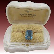14K Yellow Gold Art Deco Emerald Cut Blue Topaz Ring