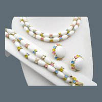 Crown Trifari Milk White Beads Pastel Three Piece Set
