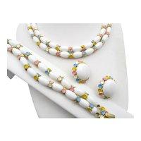 Crown Trifari Milk White Beads Pastel Three Piece Set