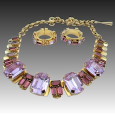 Christian Dior Purple Rhinestone Necklace and Earrings