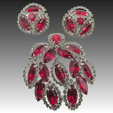 Vintage Weiss Red Halo Rhinestone Brooch and Earring Set