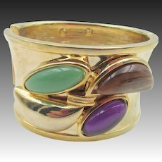 Thick Cuff Bracelet God Tone Cabochon Front and Back