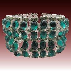 Emerald Green Cabochon Wide Nine Row Rhodium Plated Bracelet