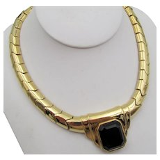 Signed Ciner Gold Plated Chevron and Black Rhinestone Necklace