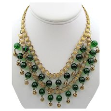 1920's Art Deco Bib Necklace Green Glass Drop Double Book Chain Necklace