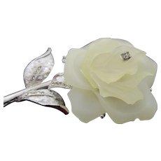Signed Hattie Carnegie White Rose Silver Brooch/Pin