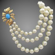 Marvella Triple Strand Faux Pearl Ornate Turquoise Clasp Necklace