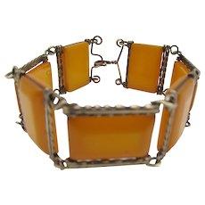 1930s Art Deco Brass and Bakelite Link Bracelet