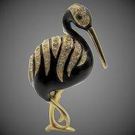 Signed Les Bernard Enamel Rhinestone Ibis Bird Brooch
