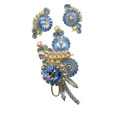 DeLizza & Elster Juliana Blue Margarita Rhinestone Brooch and Earrings