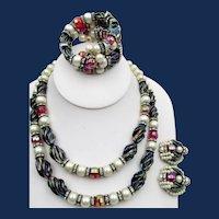 Signed Hobe Faux Pearl, Art Glass, Rhinestone Necklace, Bracelet, Earrings Parure
