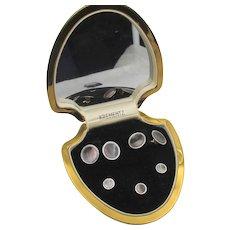 Krementz Abalone  Art Deco Tuxedo Set in Original Leather Box
