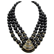 Vintage Givenchy Black and Gold Tone Triple Strand Necklace