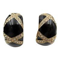 Ciner Black Enamel and Diamante Rhinestone Hoop Clip Earrings
