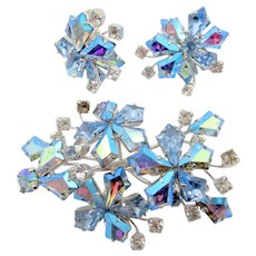 Vendome Light Blue AB Kite Rhinestone Brooch and Earring Spray